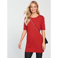 V by Very Pocket 3/4 Jersey Tunic, Red, Size 18, Women