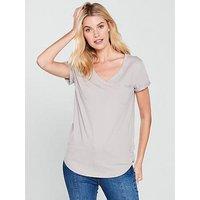 V by Very Perfect V Neck Tshirt, Mink, Size 12, Women