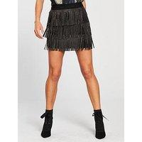 Vero Moda Embellished Shake Short Skirt - Black, Black, Size L=12, Women
