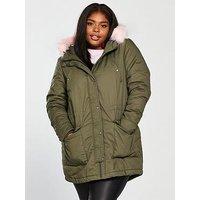 JUNAROSE Ola Pink Faux Fur Trim Parka, Ivy Green, Size 14-16, Women