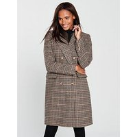 Vero Moda Royal Check Double Breasted Coat - Rust, Rust, Size Xs=6, Women