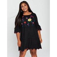JUNAROSE Heva 3/4 Sleeve Embroidered Tiered Dress - Black , Black, Size 22, Women
