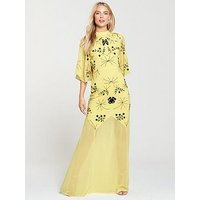 Frock and Frill High Neck Embroidered Maxi Dress - Yellow, Yellow, Size 10, Women