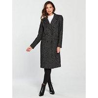Vero Moda Highland Herringbone Double Breasted Coat - Black, Black, Size Xs=6, Women