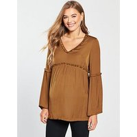 Mama-Licious Maternity Bitra Woven Top With Fluted Sleeves And Tie Detailing, Monks Robe, Size S=8, Women