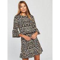 V by Very Frill Waist Jersey Dress, Animal Print, Size 16, Women