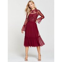 Frock and Frill Mesh & Embellished Top Frill Detail Midi Dress - Persian Red, Persian Red, Size 6, Women