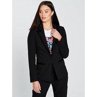 V by Very Velvet Trim Blazer - Black, Black, Size 8, Women