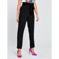 V by Very Belted Tapered Leg Trouser - Black, Black, Size 10, Women