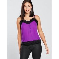 V by Very Button Detail Lace Cami - Purple, Purple, Size 22, Women
