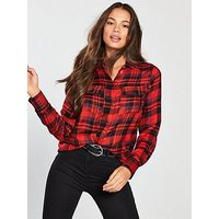 V by Very Studded Check Shirt - Red, Check, Size 20, Women