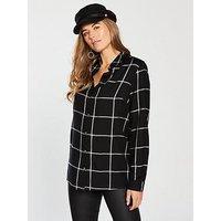 V by Very Mono Longline Grid Shirt - Checked Print, Check, Size 8, Women