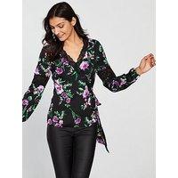 V by Very Lace Trim Wrap Top - Black Floral, Black Floral, Size 10, Women