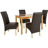 Very Mccauley 120 Cm Solid Wood And Glass Dining Table + 4 Chairs - Brown/Oak MTDQP