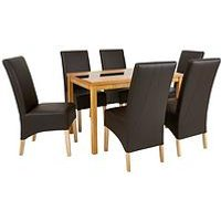 Very Mccauley 120 Cm Solid Wood And Glass Dining Table + 6 Chairs - Brown/Oak MTDQT