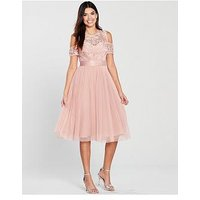 V By Very Bridesmaid Cold Shoulder Prom Dress - Blush