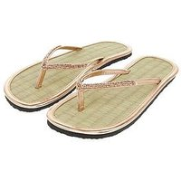 Accessorize Beaded Seagrass Flip Flop - Rose Gold, Rose Gold, Size M, Women