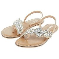 Accessorize Lydia Flower Embellished Sandal - Gold, Gold, Size 41, Women