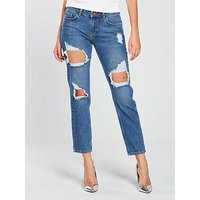 V by Very Emerie Busted Open Boyfriend Jean - Mid Wash, Mid Wash, Size 8, Women