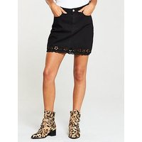 V by Very Laser Cut Hem Skirt - Black, Black, Size 10, Women