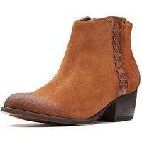 Clarks Maypearl Fawn Ankle Boot, Dark Tan Suede, Size 7, Women