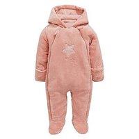 Mamas & Papas Baby Girls Faux Fur Pramsuit, Pink, Size Newborn