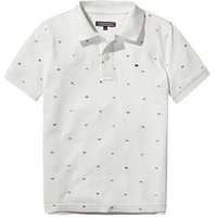 Tommy Hilfiger Boys Short Sleeve Flag Polo, White, Size 10 Years