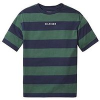 Boys, Tommy Hilfiger Boxy Rugby Stripe T-shirt, Navy, Size 4 Years