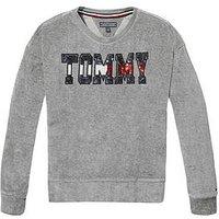 Tommy Hilfiger Girls Sequin Velour Sweat - Grey, Grey Heather, Size Age: 7 Years, Women