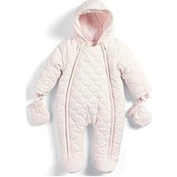 Mamas & Papas Baby Girls Pink Quilted Pramsuit, Pink, Size Newborn