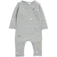 Mamas & Papas Baby Girls Pom Pom Knit Romper, Grey, Size 9-12 Months