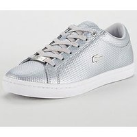 Lacoste Straightset 318 2 Caw Trainer, Silver, Size 7, Women