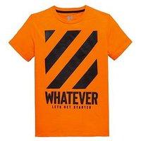 Boys, V by Very Whatever High Gloss Print T-Shirt, Orange, Size 6 Years