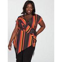 V by Very Curve Ruffle Wrap Stripe Blouse, Stripe, Size 28, Women