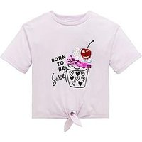 Mini V by Very Girls Cupcake Knot Tie T-shirt, Lilac, Size Age: 3-4 Years, Women