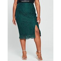 V By Very Curve Lace Pencil Skirt - Forest Green
