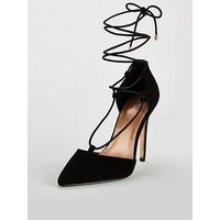 Michelle Keegan Candy Lace Up Pointed Court Shoes - Black , Black, Size 6, Women