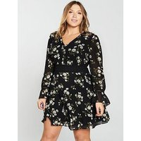 V by Very Curve Woven Lace Insert Tea Dress – Floral Print, Floral Print, Size 26, Women