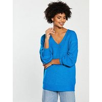 V by Very V-neck Rib Blouson Sleeve Slouch Jumper - Teal, Teal, Size 18, Women