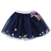 Billieblush Girls Tulle Pom Pom & Beaded Tutu Skirt, Navy, Size Age: 8 Years, Women