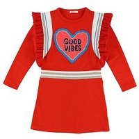 Billieblush Girls Sequin Ruffle Good Vibes Dress, Bright Red, Size 12 Years, Women