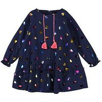 Billieblush Girls Heart Print Tassel Drop Waist Dress, Navy, Size 8 Years, Women