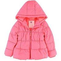 Billieblush Girls Hooded Padded Flock Heart Jacket, Fuchsia, Size 10 Years, Women