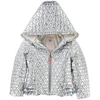 Billieblush Girls Hooded Heart Quilted Metallic Jacket, Silver, Size 6 Years, Women