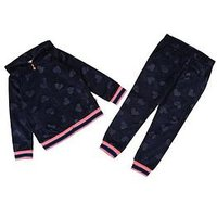 Billieblush Girls Velvet Heart Hoody & Jogger Tracksuit, Navy, Size Age: 3 Years, Women