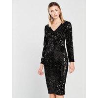 V by Very Plunge Sequin Midi Dress - Black, Black, Size 8, Women