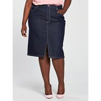 V by Very Curve Contrast Stitch Denim Skirt, Indigo, Size 24, Women
