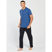 V by Very Blue Striped Loungewear Tee & Pique Joggers, Navy, Size M, Men