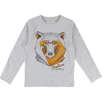 Timberland Boys Long Sleeve Graphic Print T-Shirt, Grey, Size 3 Years
