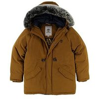 Timberland Boys Faux Fur Hooded Parka, Mustard, Size Age: 4 Years
